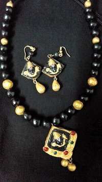 Terracotta Necklace With Black Gold Beads