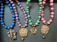 Terracotta Necklace With Antique Pendants