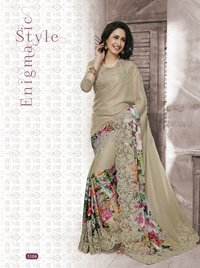 Net With Designer Embroidery Saree