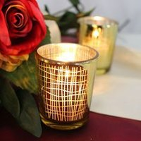 Antique Silver And Gold Mercury Glass Candle Votive
