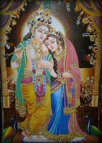 Radha Krishna Gold Painting
