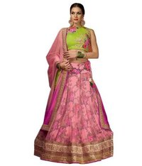 Green Printed Lehenga With Embroidered Blouse