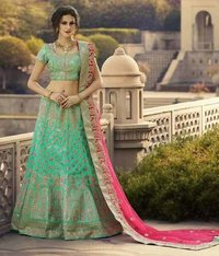 Sea Green Dupion Silk Lehenga Choli With Net Dupatta