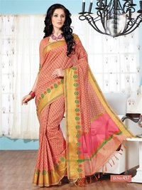Pink Yellow Fancy Cotton Printed Saree With Blouse Fabric