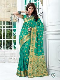 Designer Green Tussar Silk Self Print Saree With Blouse