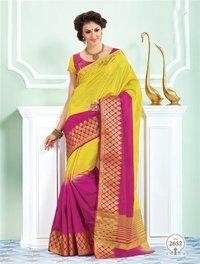 Yellow Pink Tussar Silk Self Print Saree With Matching Blouse