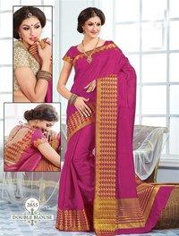 Pink Tussar Silk Self Print Saree With Matching Blouse