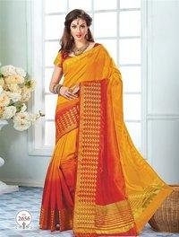 Yellow Orange Tussar Silk Self Print Saree With Matching Blouse