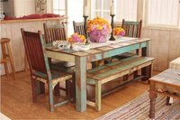Wooden Reclaim Dining Chair With Dining Table