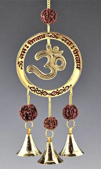 Brass Bell Wind Chime With Om And Rudraksh Beads