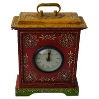 Rectangular Wooden Clock With Handle On Top