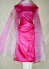 Unstitched Tussar Silk Block Printed Salwar Kameez Dress Material