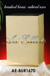 Satin Bronze Finish Brass Cube Urn
