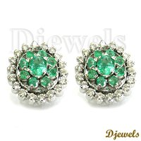 Natural Emerald Studded Diamond Earring 14k White Gold