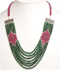 Ruby Emerald Beaded Gemstone Necklaces