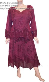 Embroidered Gothic Renaissance Lace Scalloped Hem Skirt And Blouse Set