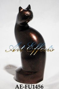 Handcrafted Solid Brass Feline Urn