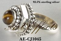 Sterling Silver Cremation Ring With Tiger Eye Stone