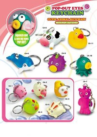 Squeeze Eyes Pop Out Animal Keychain
