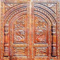 Wooden Temple Door Carving Work