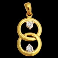 Double Circle Real Diamond Pendant