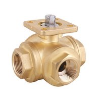 3 Way Brass Ball Valve with Mounting Pad