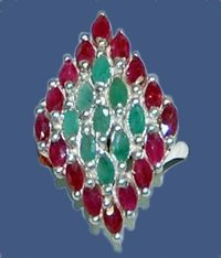 Gemstone Studded Silver Ring