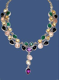 Gemstone Studded Silver Necklace
