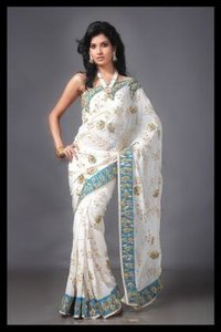 White Colour Georgette Saree