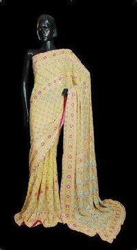 Parsi Thread Work Georgette Saree
