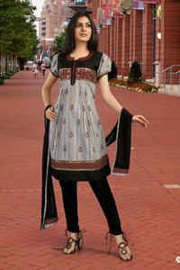 Grey Printed Salwar Suit