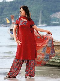 Red Fluid Crepe Salwar Suit