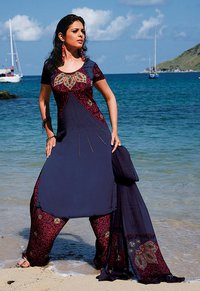Navy Crepe Salwar Suit