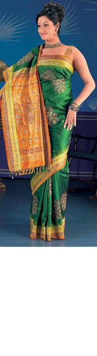 Green Color Pure Silk Saree