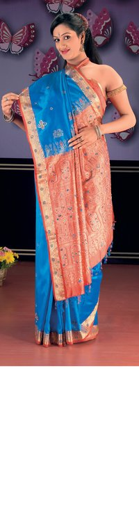 Dark Blue Color Pure Silk Saree