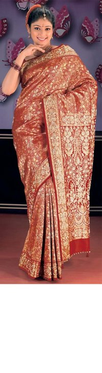 Dark Red Intricate Brocade Silk Saree