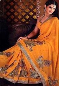 Mango Colored Saree