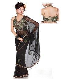Halter Silk Blouse With Chiffon Saree