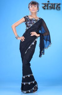 Black Georgette Saree