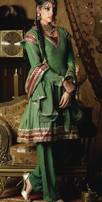 Green Color Anarkhali Style Salwar Suit