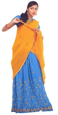 Blue And Yellow Color Pavada Davani (Half Saree)
