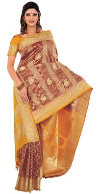 Maroon Color Brocade Silk Saree