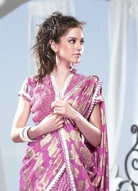 Pink Color Printed Sarees