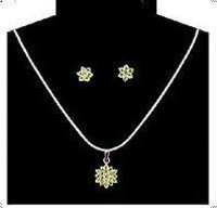 Sterling Silver Peridot Necklace Set