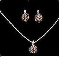 Sterling Silver Garnet Necklace Set