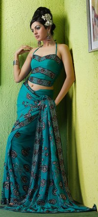 Net Embroidered Synthetic Sarees