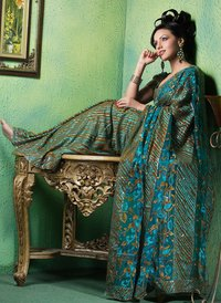 Designer Net Type Synthetic Sarees