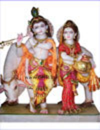 Exquisite Radha Krishna With Cow Statue