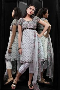 Chiffon With Khadi Print Salwar Suit