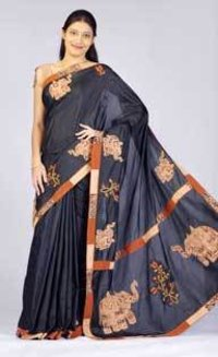 Black Crepe Saree